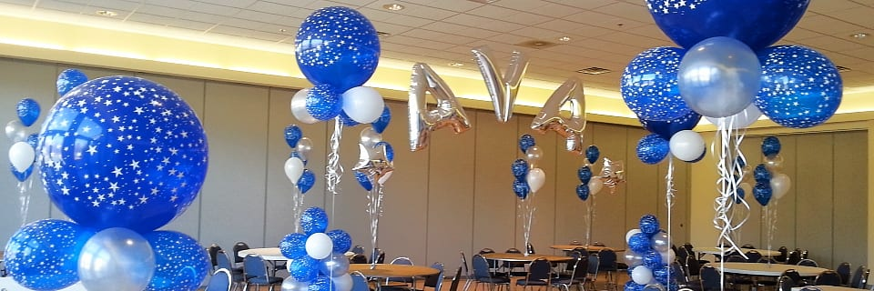 Blue, silver and white themed event