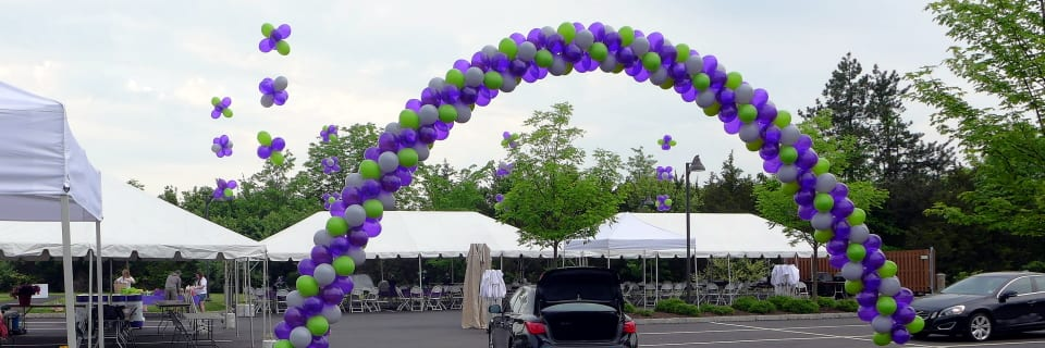 Charity ride event arch and tent decorations